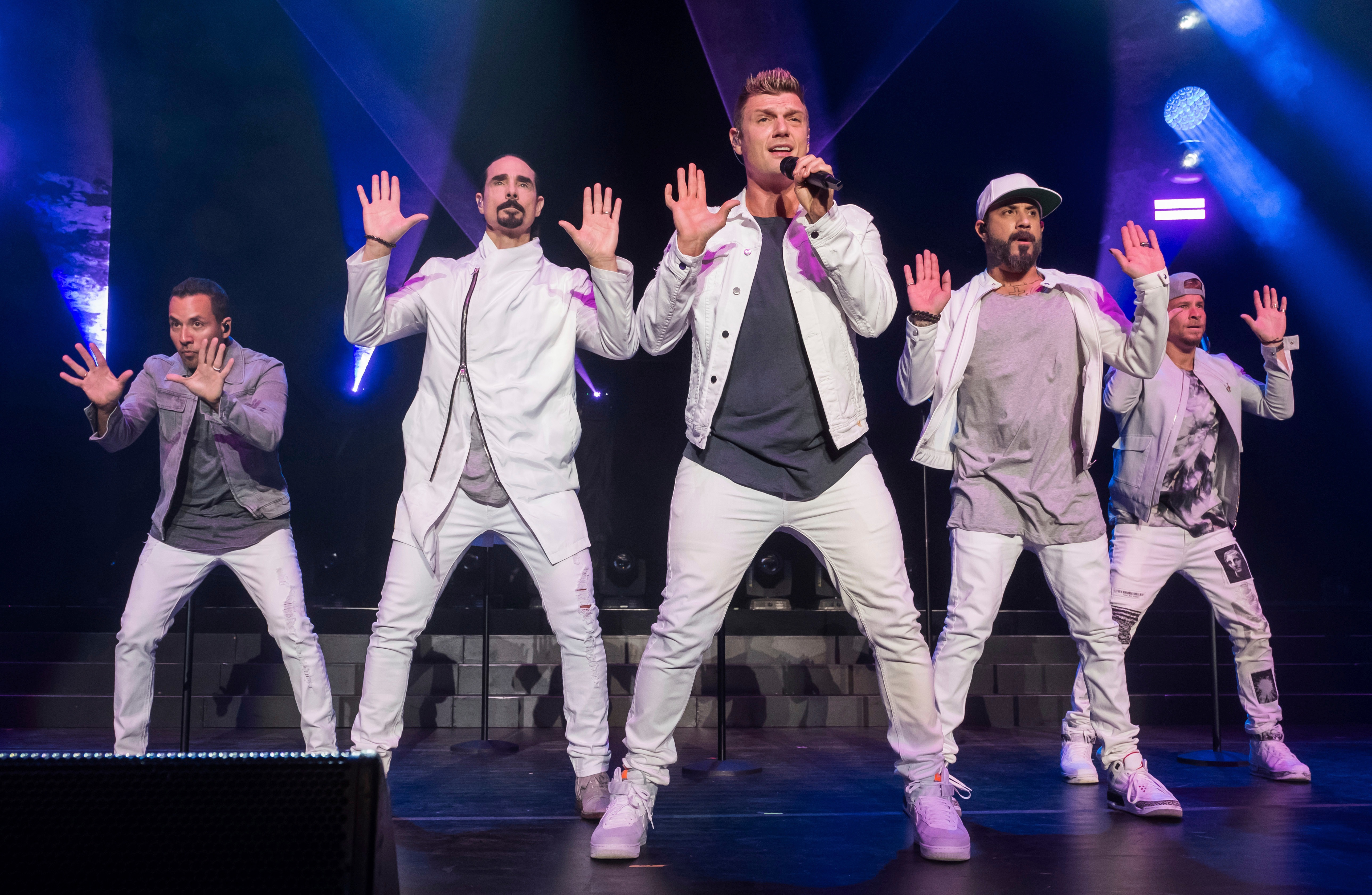 The Backstreet Boys, from left, Howie Dorough, Kevin Richardson, Nick Carter, AJ McLean and Brian Littrell performing last year in New York Photo: REX
