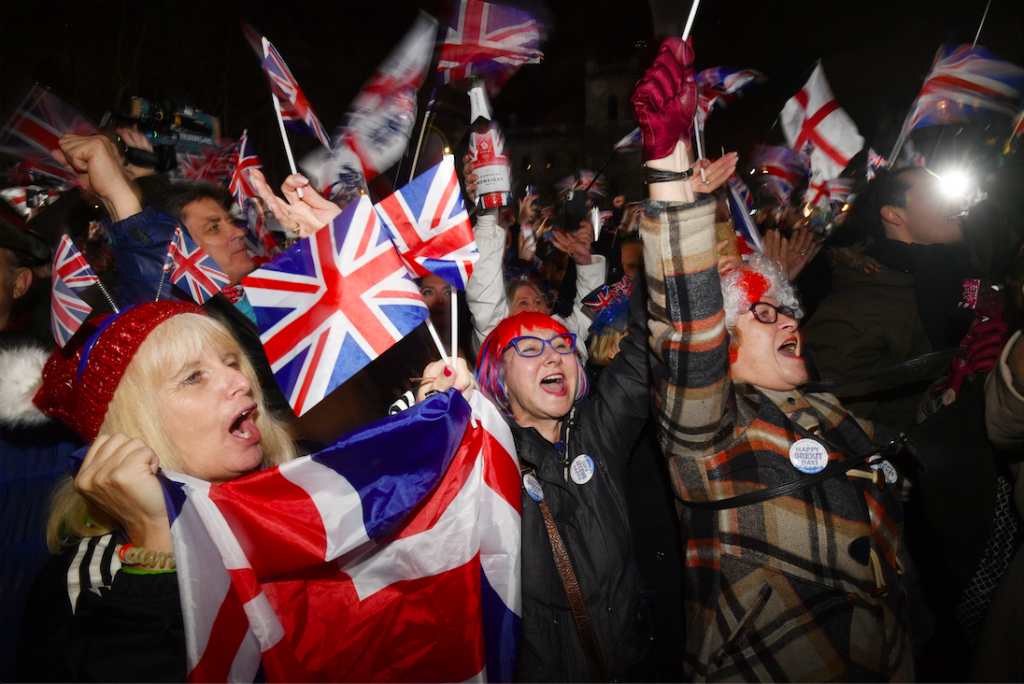KU students join in Brexit celebrations at Parliament Square