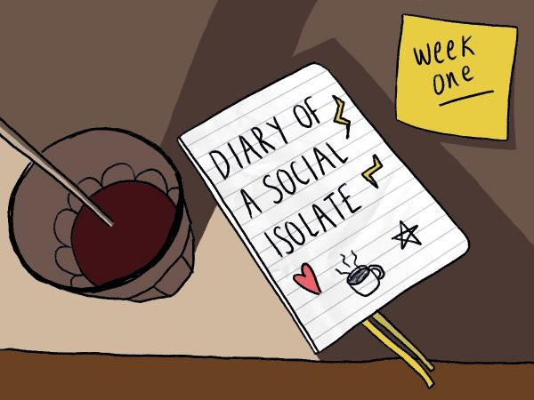 Illustration of the 'Diary of a Self-Isolate' with a 'Week One' post it note.