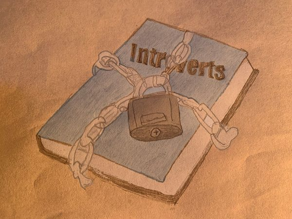 A locked book entitled 'Introverts' to show that introverts do not open up easily.