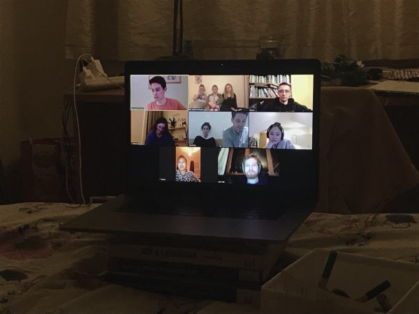 A photo of a Zoom call from the Church's student group.