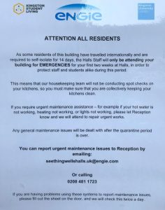 A notice posted at Seething Wells explains who has to isolate.