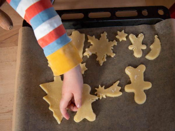 Women baking biscuits