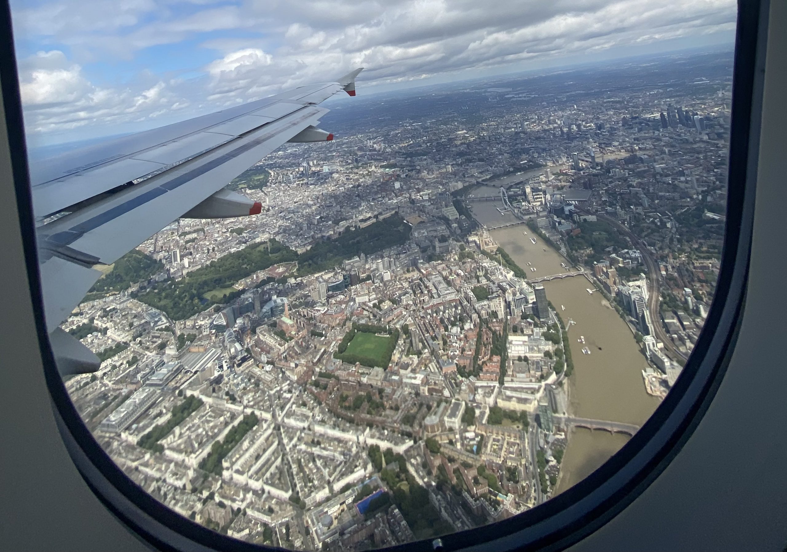 Picture of London from the airplane