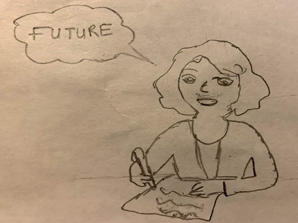 A drawing of a woman thinking about the future.