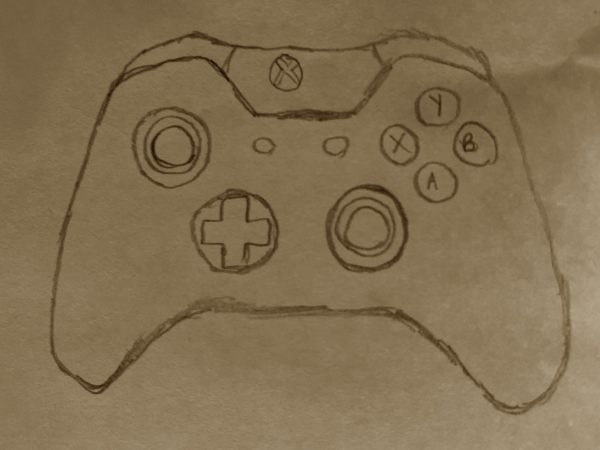A drawing of a video game controller
