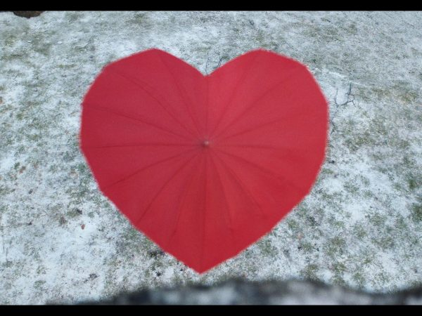 An umbrella in the shape of a love heart