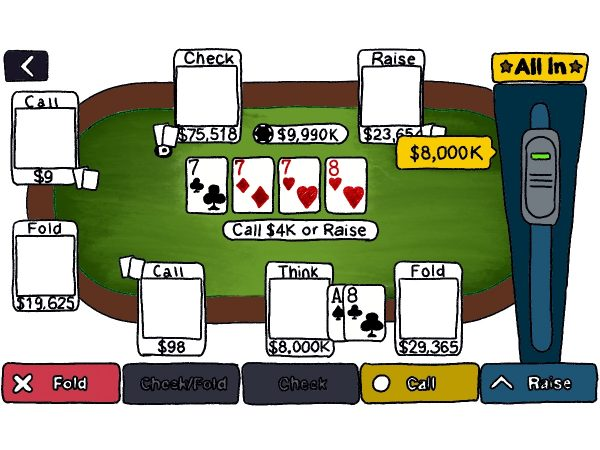 A digital drawing of an online poker game.