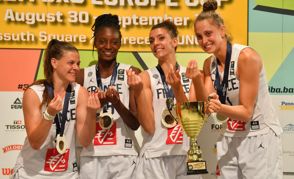 Laetitia Guapo (second from right) and the French team celebrate victory in 3x3 European Championship final in Debrecen.