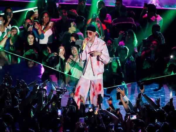 Bad Bunny performing at the Spotify Awards 2020