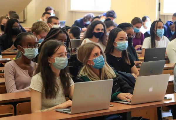 Students attending to school during the Coronavirus pandemic