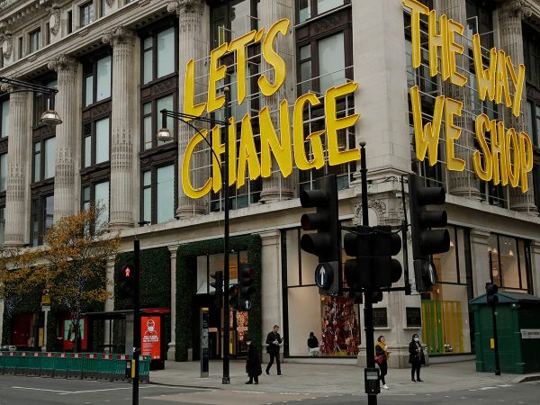 "The words ""Let's Change The Way We Shop"" amid the Coronavirus pandemic are displayed on the Selfridge's department store on Oxford Street."