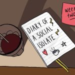 Digital illustration of a diary with the title 'Diary of a Social Isolate'