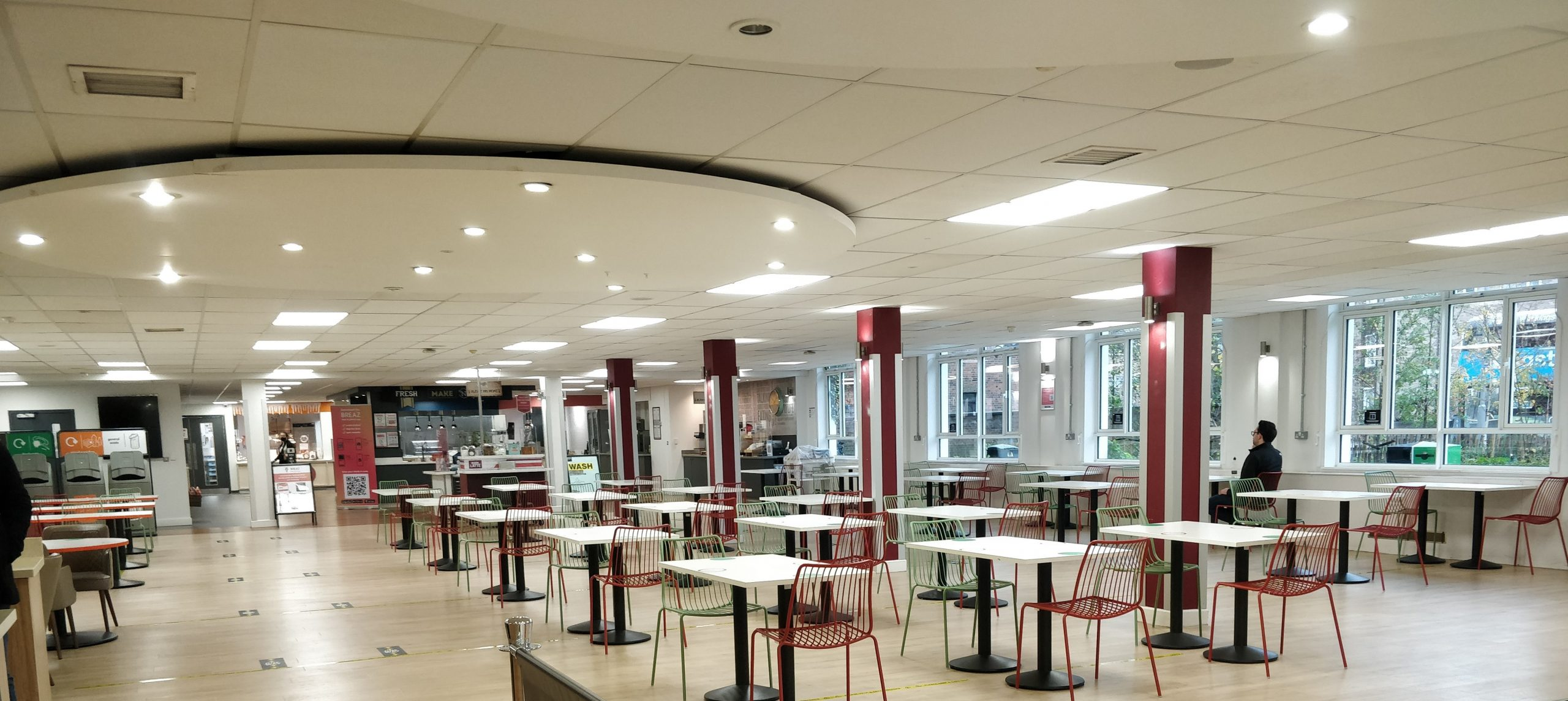 KU Penhryn Road canteen brought back tables after restrictions were lifted.