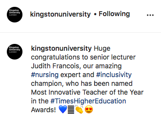 Kingston University congregated Judith Francois on Instagram for her massive achievement.