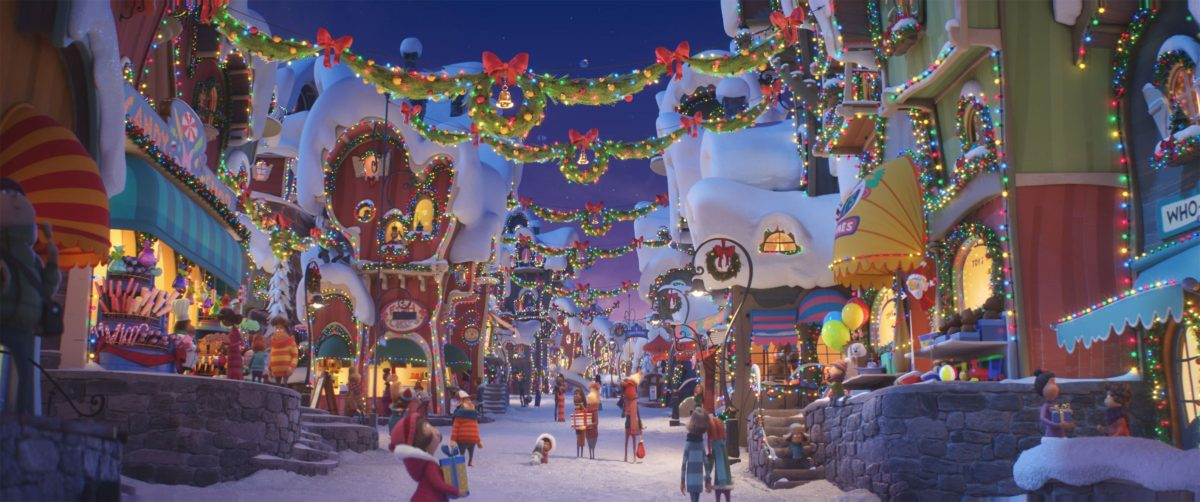 An image of a holiday village from The Grinch movie.