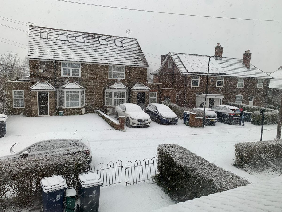 Streets covered in snow