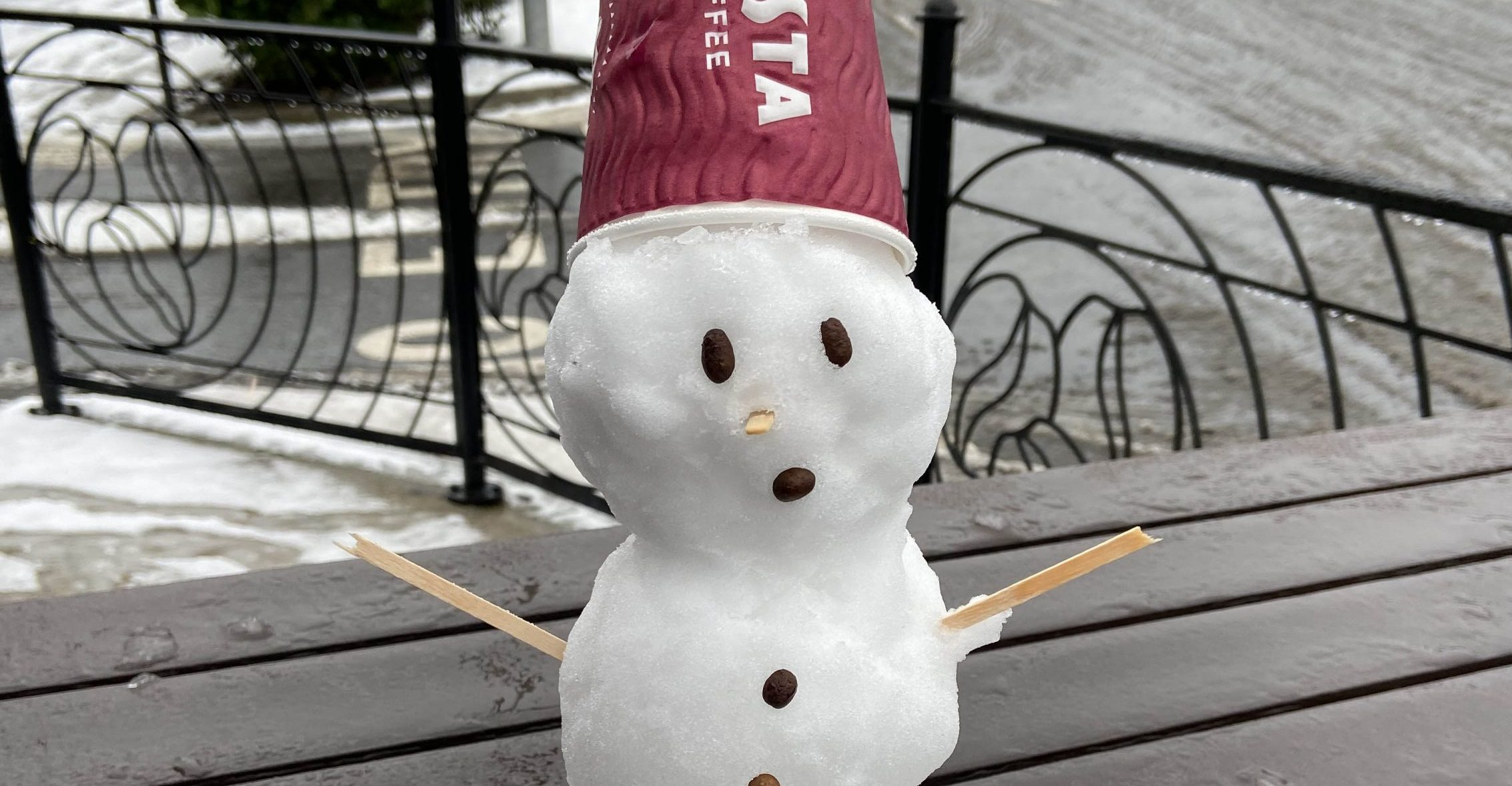 Snowman made using Costa Coffee utensils