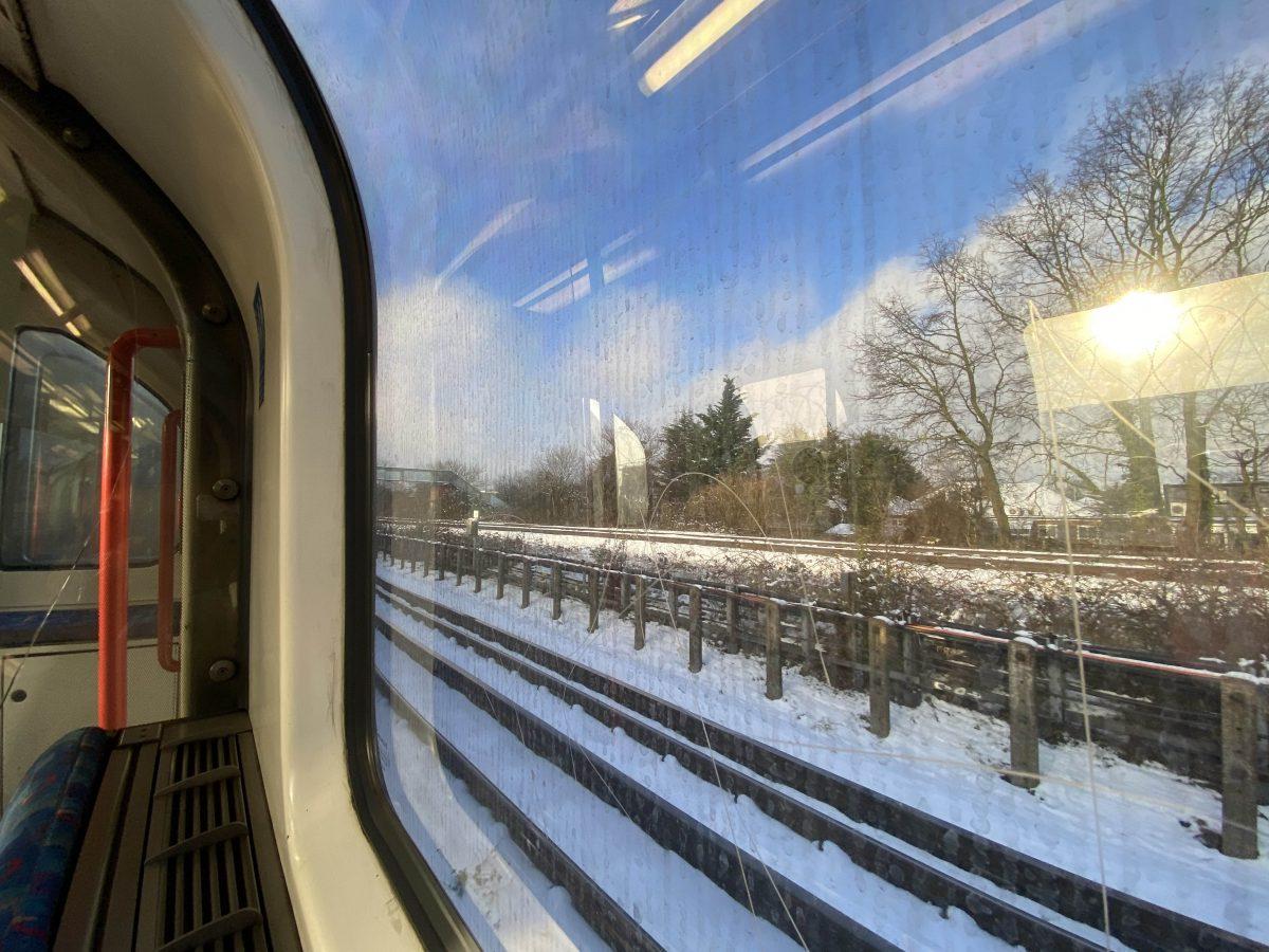 Underground views. Snow through the window.