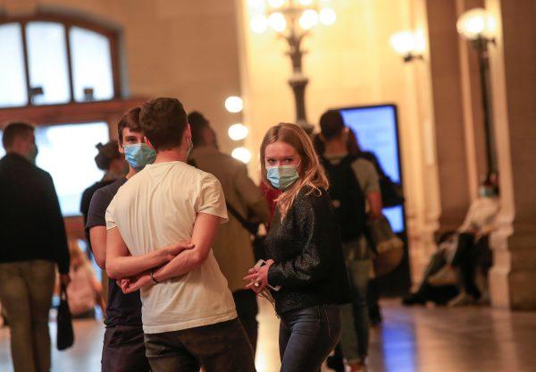 Students wearing masks at university