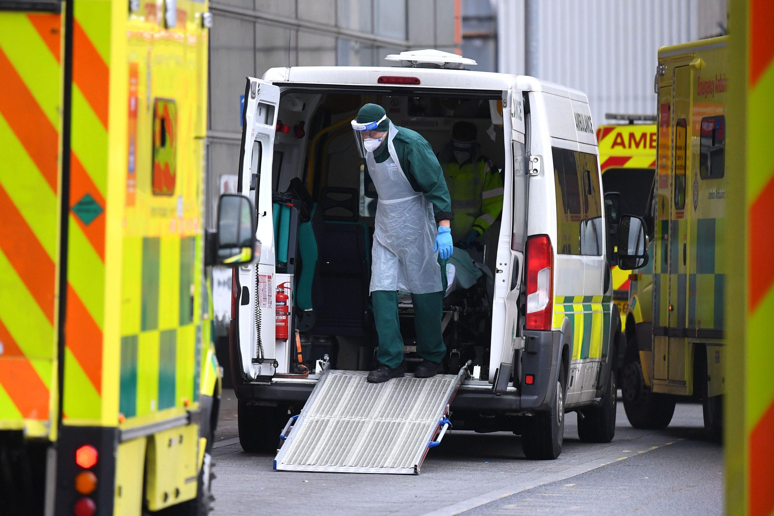 Ambulances with patients arrive at Royal London