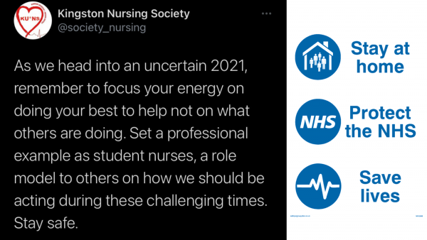 A twitter post by Kingston Nursing society encouraging student nurses to focus on themselves.