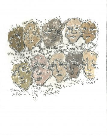 etching by Rosy-May Schofield, showing a series of faces of people who suffered Nazi oppression during World War Two