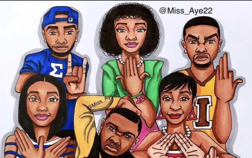 Illustration of Black Fraternities and Black Sororities posing with their hand signs.