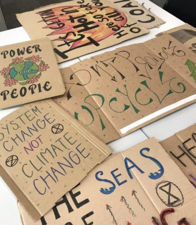 Protest signs designed by the Kingston University Environmentalism society