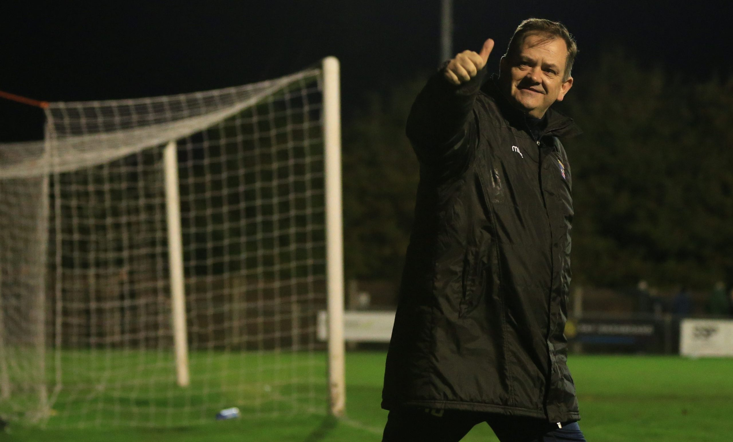Kingstonian manager Hayden Bird celebrating a victory last season