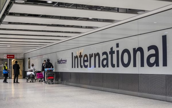 Picture of passenger arriving through International arrivals at Heathrow Airport