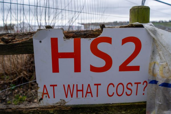 Anti-HS2 sign, which reads: HS2 At What Cost?