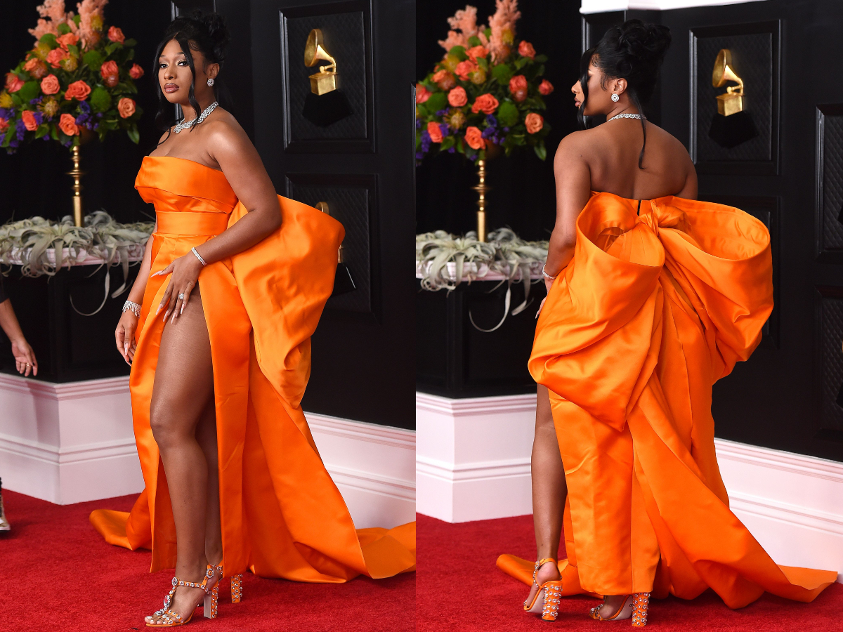 Megan Thee Stallion arrives at the 63rd annual Grammy Awards at the Los Angeles Convention Center