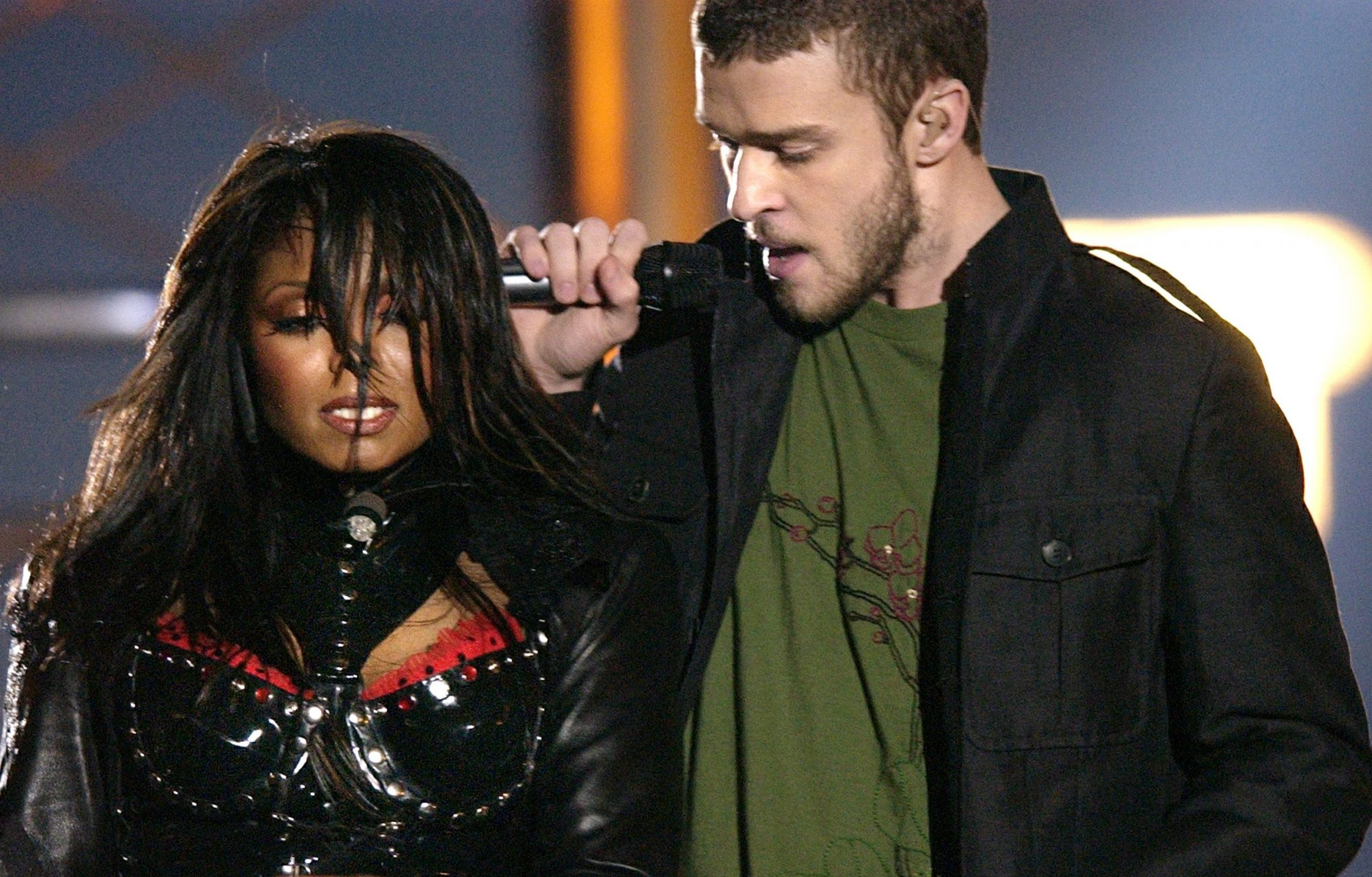 Janet Jackson pictured on the left perfoming with Justin Timberlake