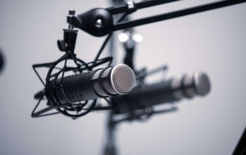 Two microphones on a stand